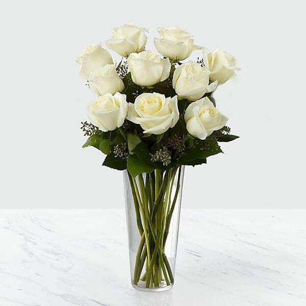 دسته گل رز هلندی سفید 10 شاخه
