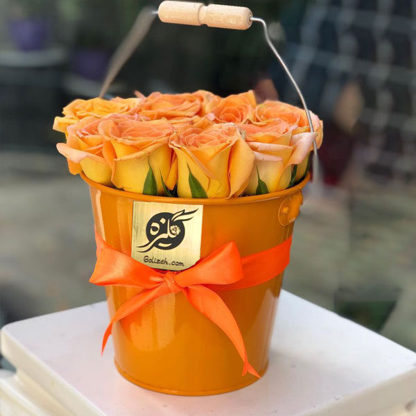 باکس گل فلزی رز نارنجی