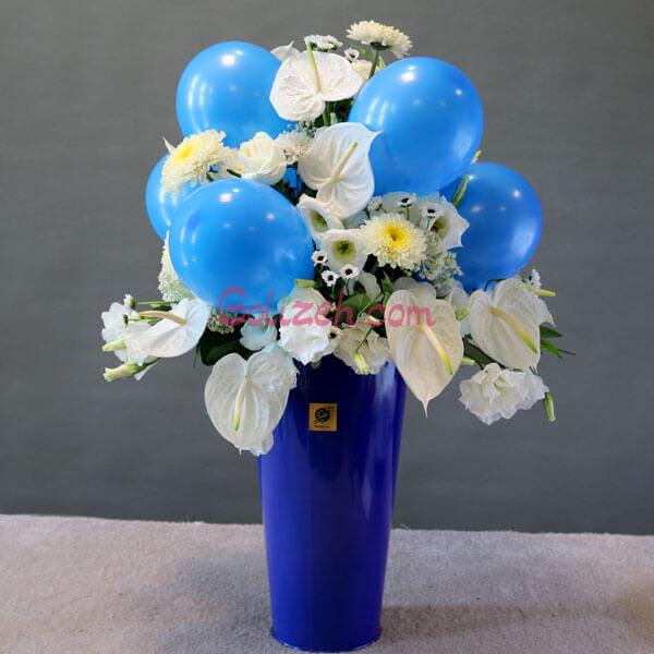 باکس گل بادکنک آبی